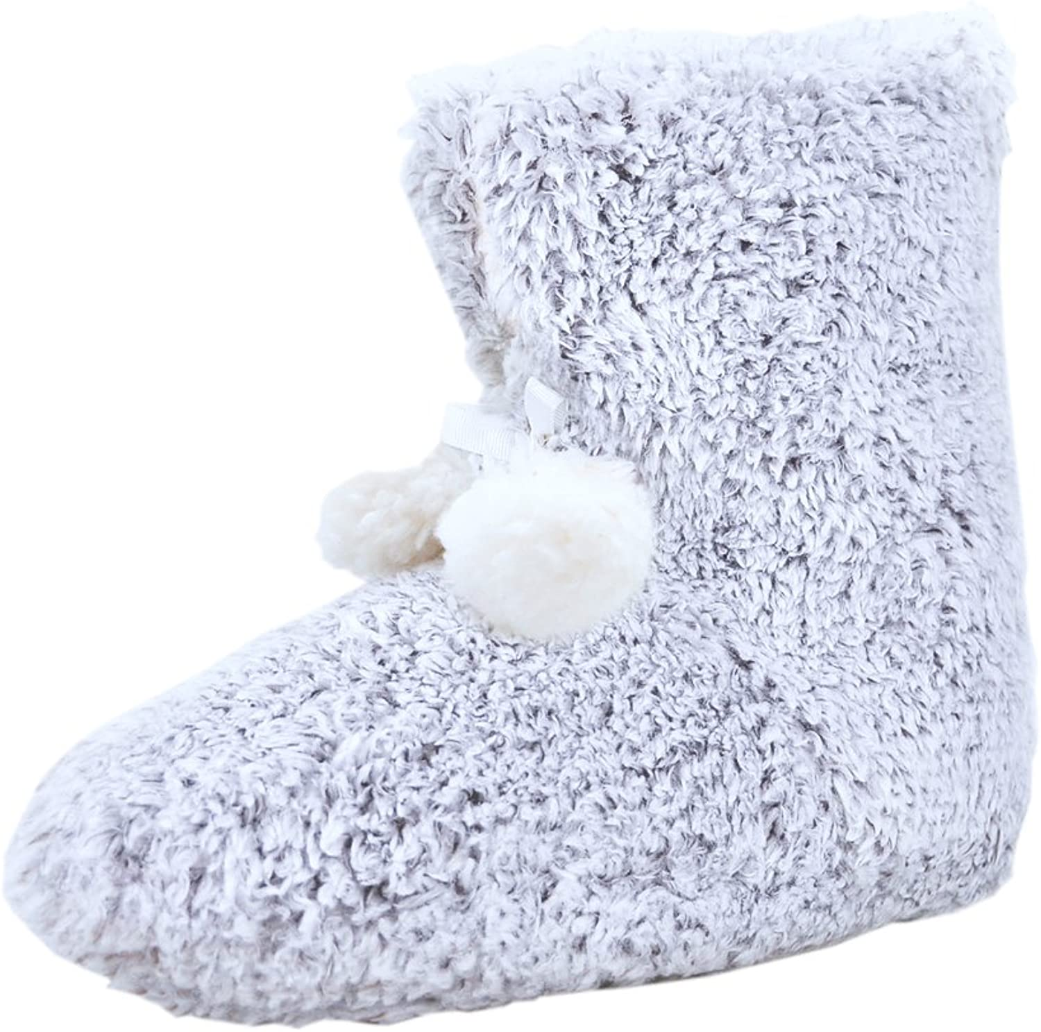 H&A Hans & Alice Indoor Women's Memory Foam Sweater Knit Pom Fuzzy Bootie Slippers. Comfy and Plush