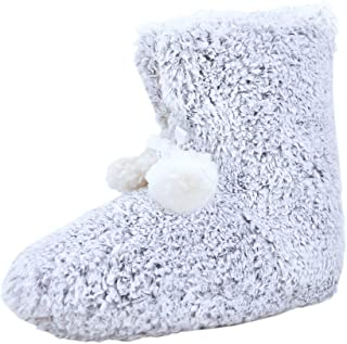 Hans & Alice Indoor Women's Memory Foam Sweater Knit Pom Fuzzy Bootie Slippers. Comfy and Plush!