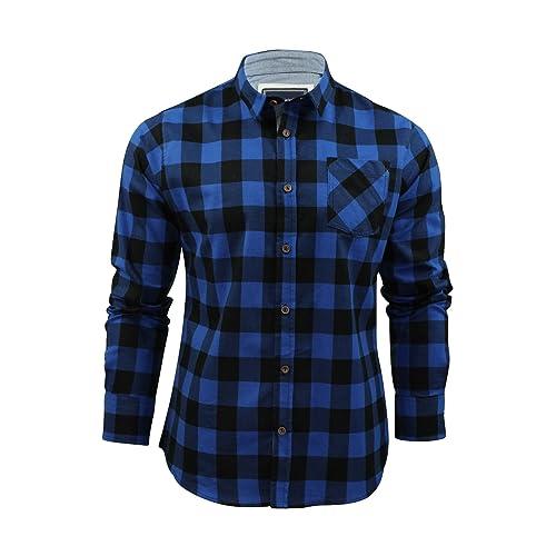 aa9e90e6 Brave Soul Mens Jack Checked Long Sleeve Check Cotton Lumberjack Casual  Shirt