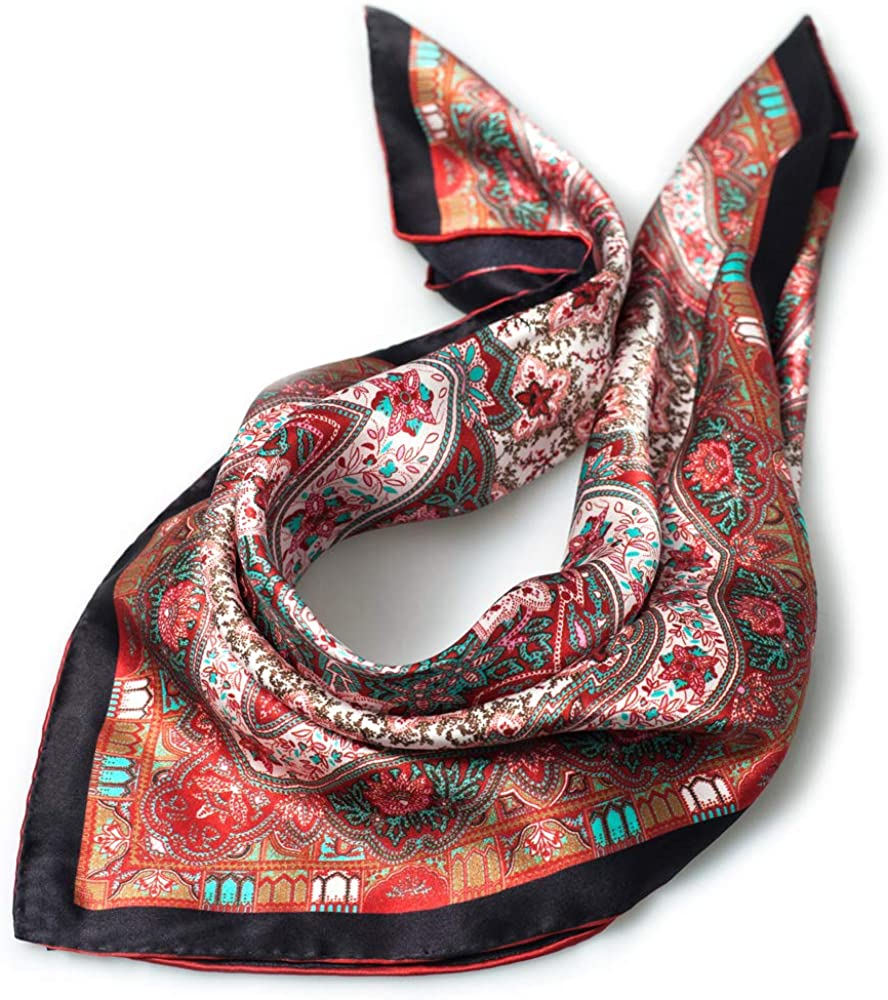 Pure Real Mulberry 100% Silk Hair Scarf for Women Small Square Vintage Soft Bandana (21x21-25g)