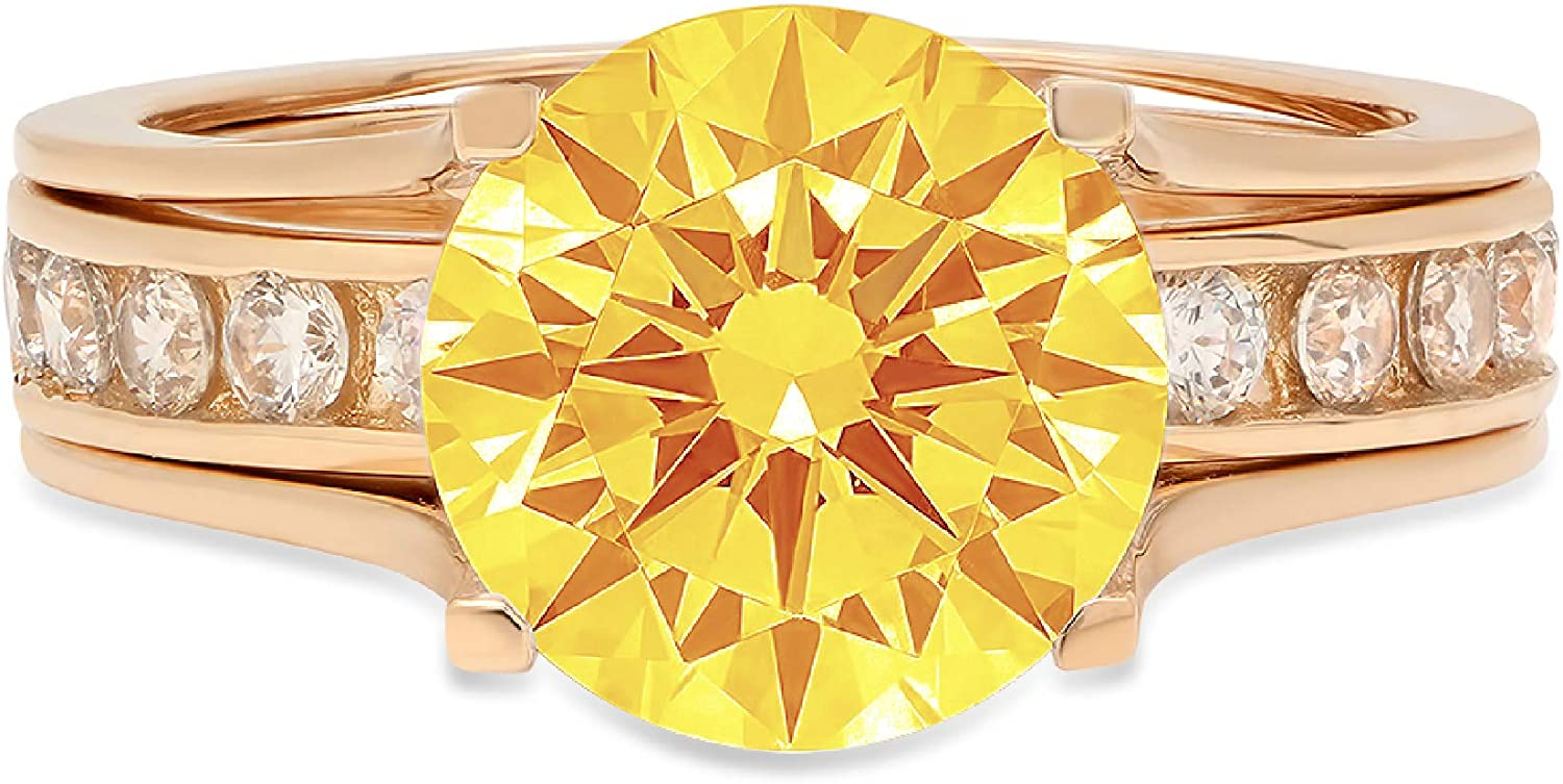 2.83ct Round Cut Pave Solitaire with Accent VVS1 Ideal Natural Yellow Citrine Engagement Promise Designer Anniversary Wedding Bridal Ring band set Sliding 14k Yellow Gold
