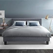 Artiss Double Bed Frame Fabric Upholstered Platform Bed Frame, Grey