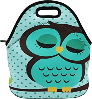 Neoprene Lunch Bag Insulated Lunch Box Tote for Women Men Adult Kids Teens Boys Teenage Girls Toddlers (Cute Owl)
