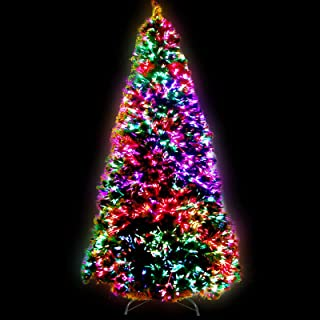 7FT Christmas Tree 2.1M Pre-lit Optic Fibre Xmas Faux Tree Multi-Colour Lighting Effect Jingle Jollys Holiday Decoration I...
