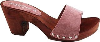 Silfer Shoes Zoccolo Donna -Vero Legno e Vera Pelle di camoscio Colore Pesca Scuro - Colore Rosa, Scuro- -Susy B