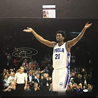 Autographed/Signed Joel Embiid Philadelphia 76ers Sixers 16x20 Canvas Basketball Photo JSA COA