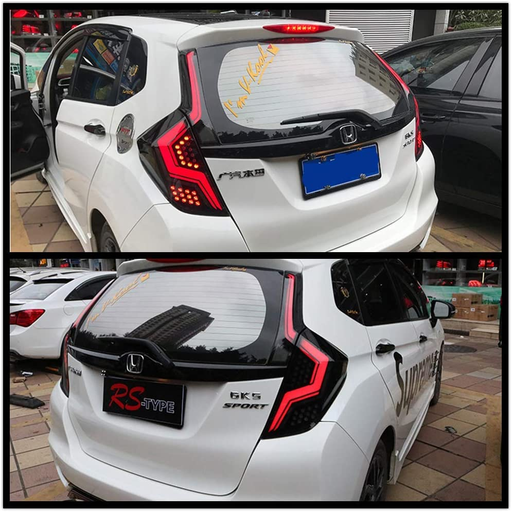 inginuity time LED Tail Lights For Honda Fit Jazz 2014-2019 4PCS Start Up Animation DRL Sequential Indicator Black Rear Lamp Assembly