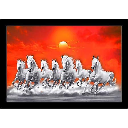 SAF UV Textured 7 Running Horses Vastu Framed Painting 35 cm X 50 cm X 3 cm
