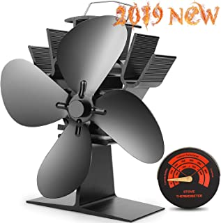 CWLAKON Heat Powered Stove Fan-2019 Upgrade Designed Silent Operation 4 Blades with Stove Thermometer for Wood/Log Burner/Fireplace-Eco Friendly and Efficient Heat Distribution(Black)