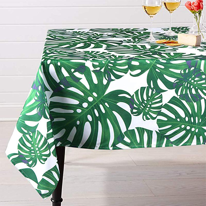Lahome Palm Leaf Pattern Tablecloth Water Resistant Polyester Washable Table Cover With Green Monstera Palm Leaves For Spring Summer Birthday Party Home Decor Palm Leaf Rectangle 60 X 102
