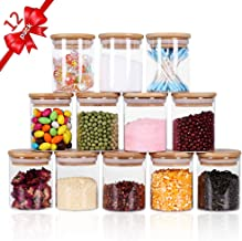 Tzerotone Glass Jars Set,Upgrade Spice Jars with Wood Airtight Lids and Labels, 6oz 12 Piece Small Food Storage Containers...