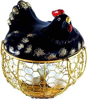 rismart Paniers à oeufs Outil Cuisine de Rangement Céramique Métal Poule Décoration Porte Rack avec Poignées pour œufs Fru...