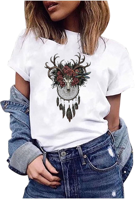 5665 Summer Tops for Women Short Sleeve Tops Fashion Succulent Plants Print Round Neck Loose T-Shirt Blouse Short