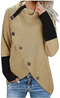 Jerseys De Punto para Mujer Cuello de Tortuga Manga Larga Suelto Prendas de Punto Suéter Irregular Contraste Chaqueta de C...