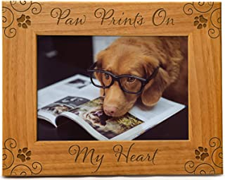 Cedar Crate Market Paw Prints on My Heart Pet Picture Frame Engraved Natural Wood, Fits a 5x7 Horizontal Portrait, Dog Pic...