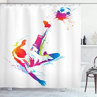 Ambesonne Soccer Shower Curtain, Soccer Man Kicks The Ball in The Air Watercolors Success Energy Feet Illustration, Cloth Fabric Bathroom Decor Set with Hooks, 70