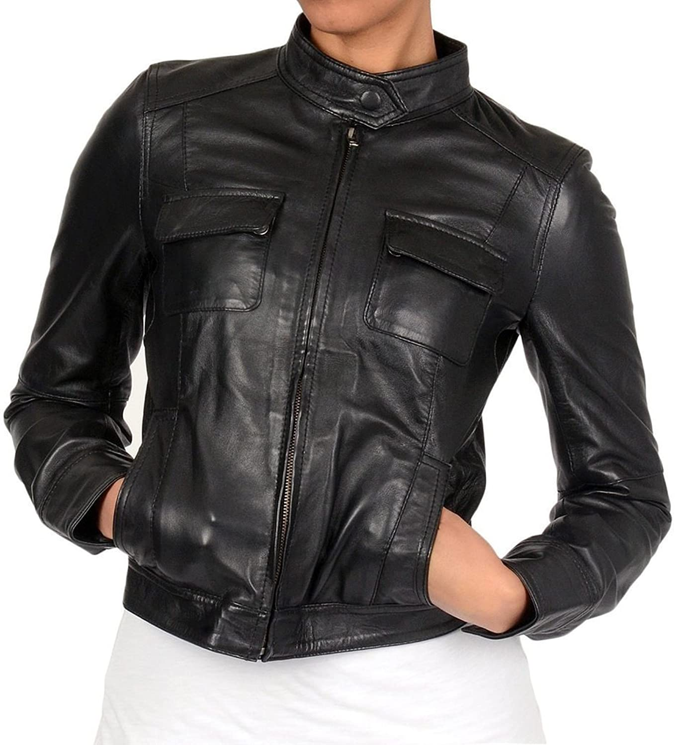 New Womens Leather Motorcycle Slim Fit Sheep Leather Jacket Coat LTW332