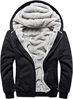 Men's Pullover Winter Workout Fleece Hoodie Jackets Full Zip Wool Warm Thick Coats