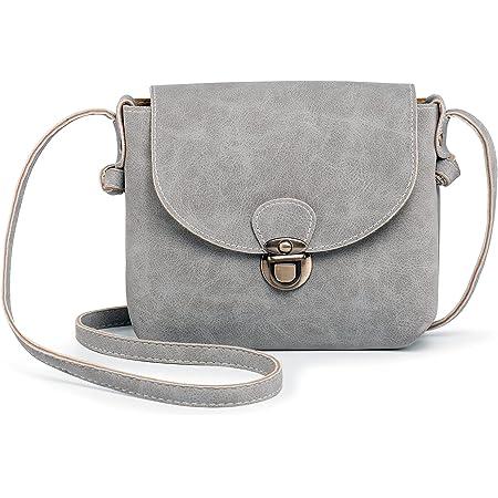 Kleine Umhängetasche Damen mit Sicher Schloss, LaRechor Vegan Leder Handtasche zum Umhängen (Grau)