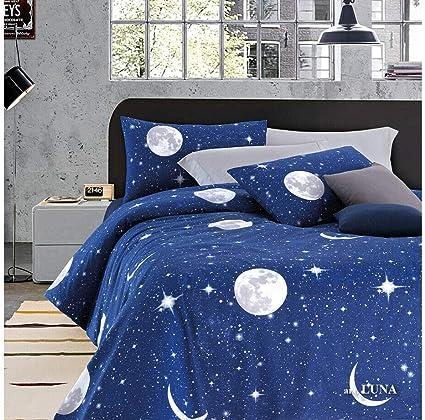 Completo Lenzuola Per Letto Singolo 1 Piazza In Fantasia Planetario Luna Amazon It Casa E Cucina