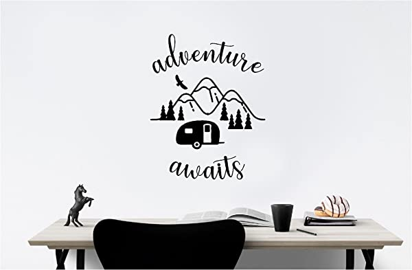 Simple Expressions Arts Camper Outdoor Adventure Awaits Family Love Vinyl Quote Saying Wall Art Lettering Sign Room Decor Inspirational Mural Artwork