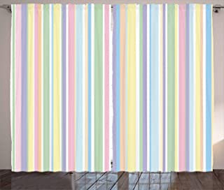 """Ambesonne Pastel Curtains, Vertically Striped Pattern Different Colored Straight Lines Classical Old Fashioned, Living Room Bedroom Window Drapes 2 Panel Set, 108"""" X 96"""", Pastel Colors"""