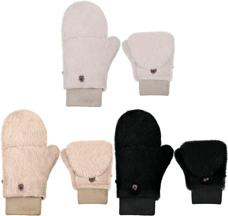 3 Pairs Faux Fur Flip Mittens Women Warm Convertible Fingerless Gloves Fluffy Flip Cover Winter Gloves Soft Fuzzy Convertible Mittens Gloves
