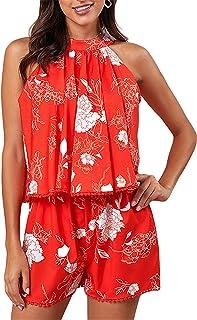 Suncolor8 Womens Beach Wide-Leg Off The Shoulder Boho Print Party Club Print Jumpsuit Romper