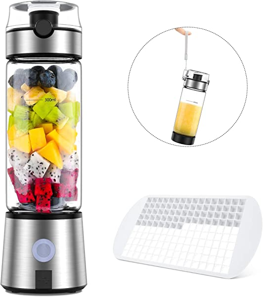 Smoothie Blender Ayyie Personal Blender Rechargeable Portable Blender Juicer Cup Multifunctional Small Blender For Shakes And Smoothies With 15oz BPA Free Blender Cup 100W 20000rpm With Silicone Ice Cube Tray Cup Cover