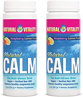 Natural Vitality Natural Magnesium Calm, Raspberry Lemon, 8 Ounce, 2 Pack