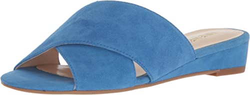 Nine West Wohommes TUMBARELO Suede Wedge Sandal, bleu, 6 6 Medium US  avec 60% de réduction