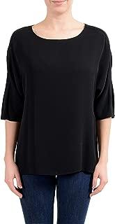 100% Silk Black 3/4 Sleeve Women's Blouse Top US XS IT 38