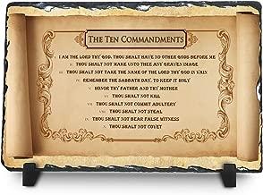 InspiraGifts The Ten Commandments | Christian Home Plaque | Religious Gift Inspirational Home Décor (King James Version, 12x8)