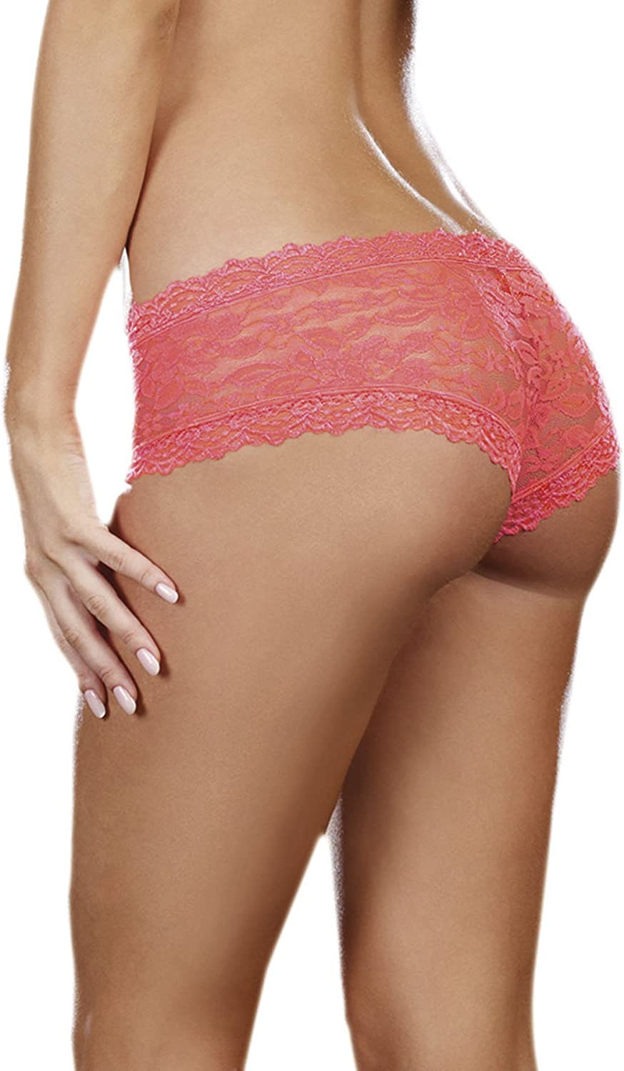 DreamGirl Womens Stretch Lace Cheeky Hipster