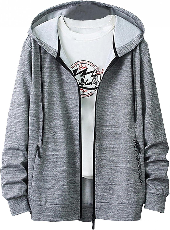 LEIYAN Mens Hooded Pullover Casual Long Sleeve Zip Up Lightweight Sweatshirt Outdoor Sport Hoodie Pullover Plus Size