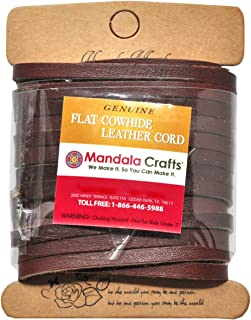 Mandala Crafts Flat Cowhide Genuine Leather String Cord Lace, Rawhide Strip for Jewelry Making, Clothing, Shoelaces, Baseball Gloves, and Saddles (5mm 5.5 Yards, Light Brown)