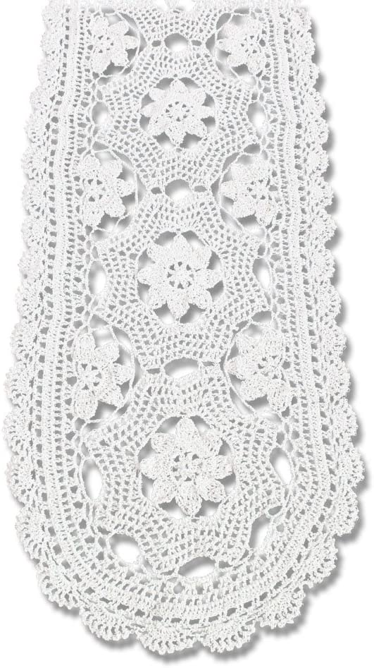 KEPSWET Cotton Courier shipping free Floral Oval Handmade Lace Wh Max 65% OFF Runner Crochet Table