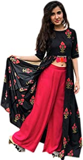 Ashwati Women's Rayon Printed Kurti Shrug with Palazzo Pant Set (Ash-Bhooka peth, Black and Pink, Small Bust 36)