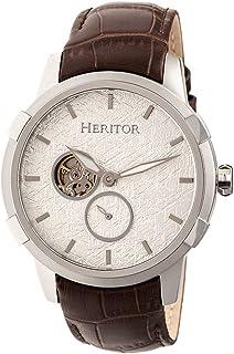 heritor automatic - Callisto - Reloj semicelético con banda de piel, color plateado