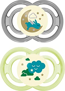 Mam Glow In The Dark Pacifiers, Baby Pacifier 16+ Months, Best Pacifier For Breastfed Babies, Premium Comfort And Oral Care 'Perfect Night' Collection, Unisex, 2,Count