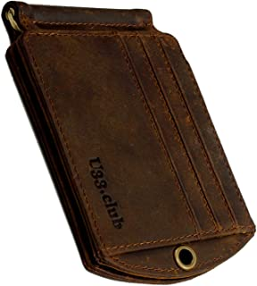 RFID Smart Blocking Slim Genuine Leather Thin Minimalist Front Pocket EDC Wallets for Men with Money Clip and Chain