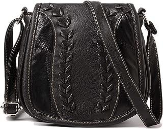 Cyber Deals Monday Deals Sales 2018-Handicrafts Women's Saddle Bag Vintage Style Genuine Leather Cross Body Shoulder Bag Handmade Purse Christmas Gifts for Women (Black)
