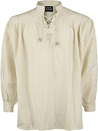 Leonardo Carbone Camisa Medieval de Cuello Alto Hombre Camiseta Crudo,