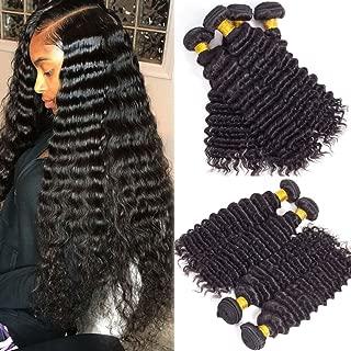 Pineapple Deep Wave Bundles 10A Brazilian Human Hair Deep Curly Bundles 4 Loose Deep Wave Bundles Virgin Hair Weave Bundles Natural Color(16 18 20 22)