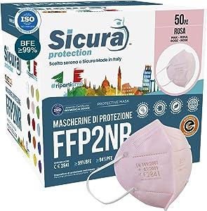50 Mascherine FFP2 Colorata ROSA Certificate CE SICURA Italia logo impresso BFE ≥99% Made in Italy Mascherina ffp2 SANIFICATA e sigillata singolarmente Pluri certificata ISO 13485 e ISO 9001