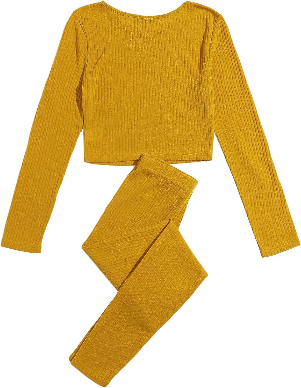 SweatyRocks Womens 2 Piece Tracksuit Outfits Long Sleeve T Shirt Rib Knit Leggings Set Jumpsuits