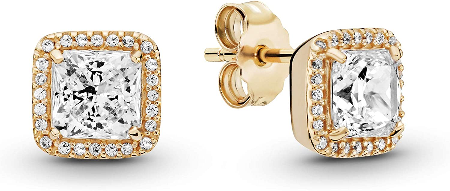 Pandora Jewelry Square Sparkle Halo Stud Cubic Zirconia Earrings in Gold 14K