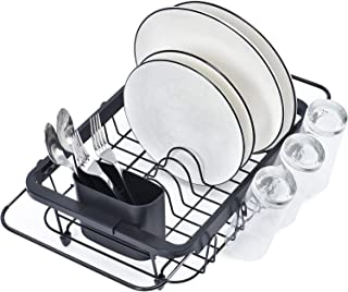TOOLF Expandable Dish Drying Rack Over the Sink Adjustable Dish Rack In Sink Or On Counter Dish Drainer with Utensil Holde...