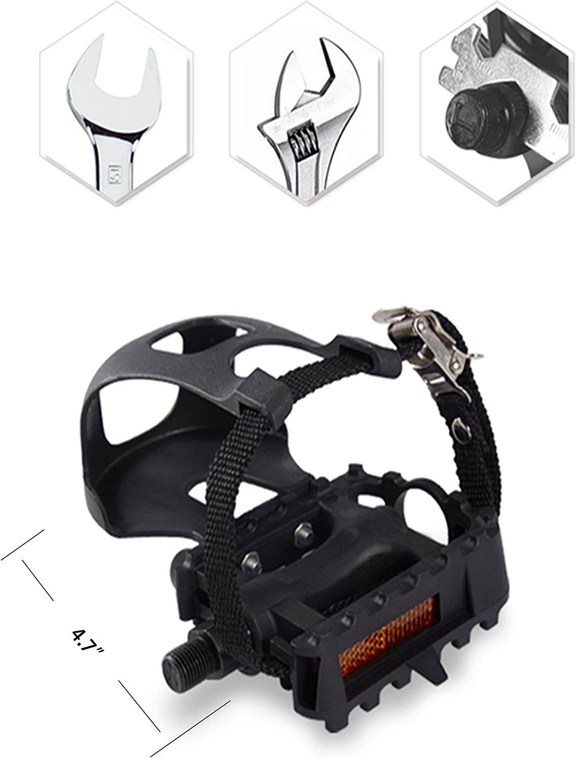 Easy to Install Nice Toe-Room Area AbraFit 9//16-Inch Premium Quality Bicycle Pedals with Toe Clips and Straps