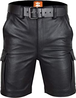 Original Leather Men's | Cargo Shorts | Black Glossy Finish | with Leather Belt